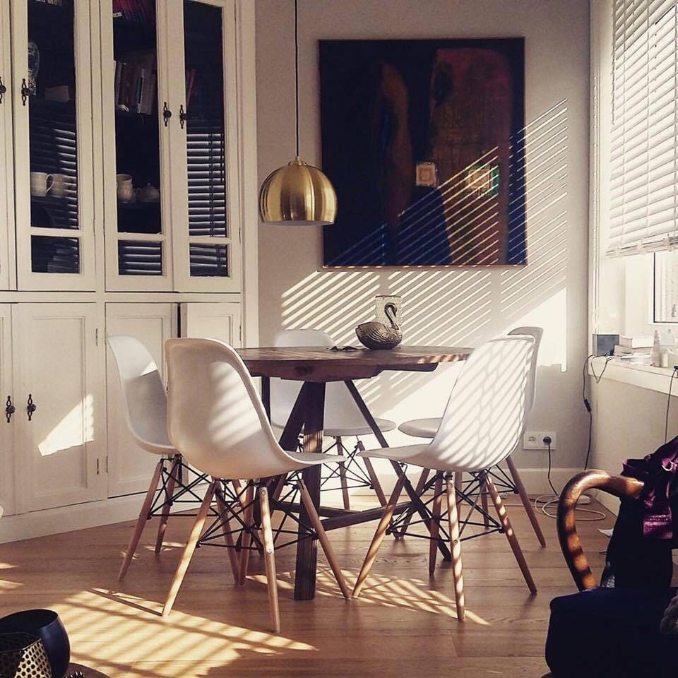 The bright dining area