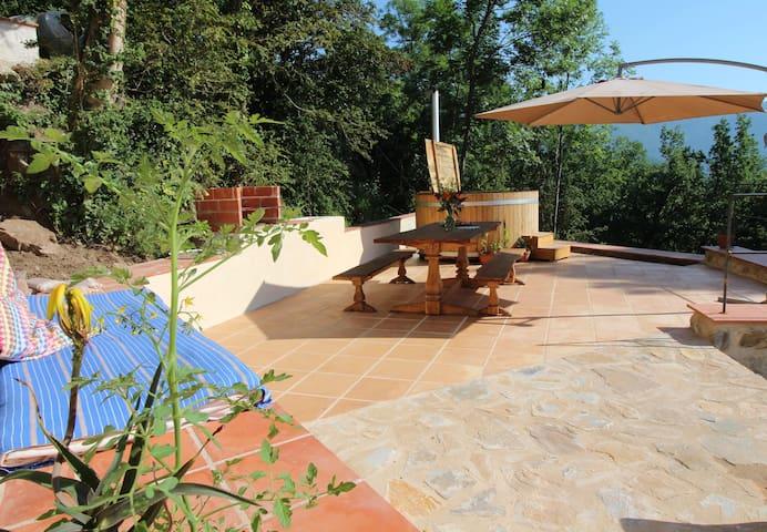 Gite Canigou lower terrace with hot tub
