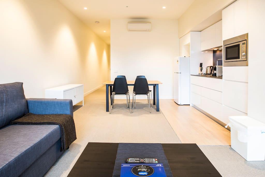 Modern well-lit apartment.