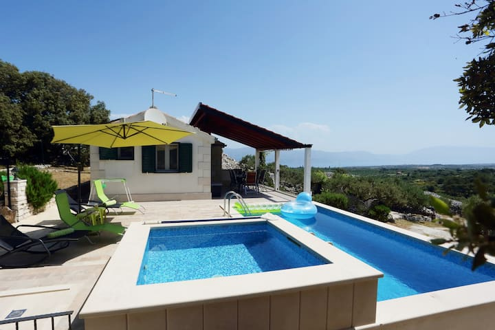 Villa Maria Škrip with sea view, 2 pools (heated)