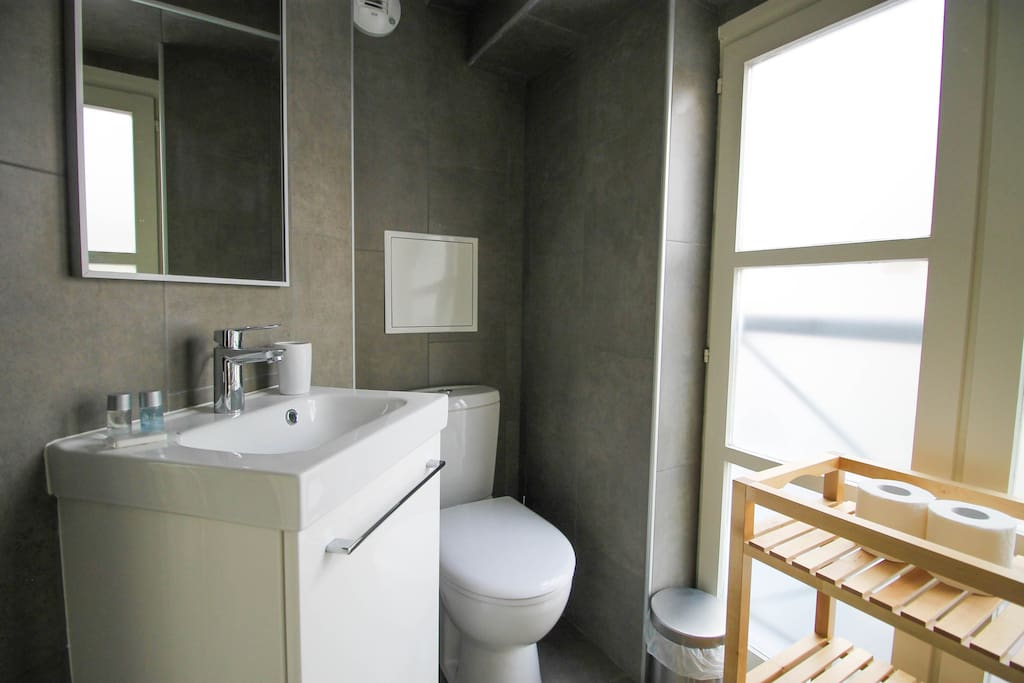 A modern bathroom with all the amenities included : hairdryer, towels, shower gel and shampoo
