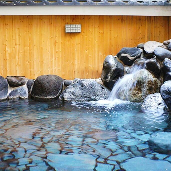 Open-air hot spring bath.