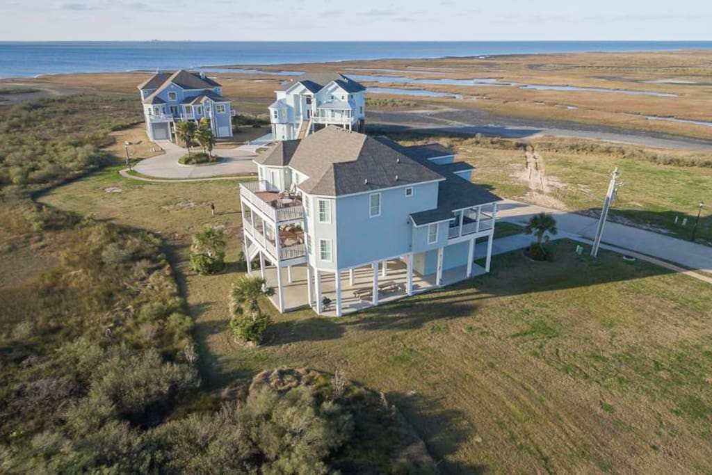 Bay House - Aerial View with Galveston Bay