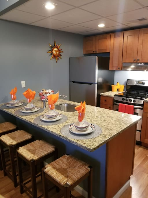 Brand new stainless steel appliances and kitchen...all of your kitchen needs are here