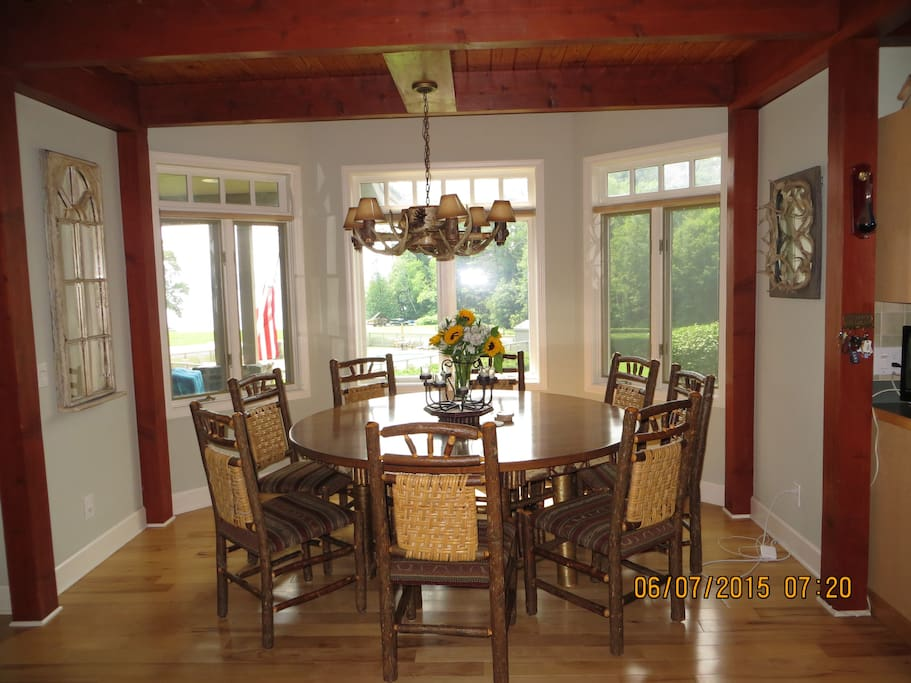 Dining area overlooking lake