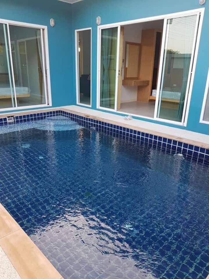 2 rooms pool villa 5 mins walk to Beach