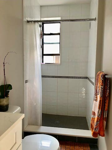 Brand new tile & bathroom/open shower window with natural light.