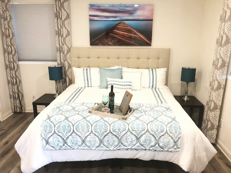 Extremely comfortable Cal King bed with memory foam topper.