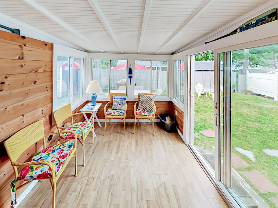 Sip morning coffee in the sunroom, which features seating for 4.