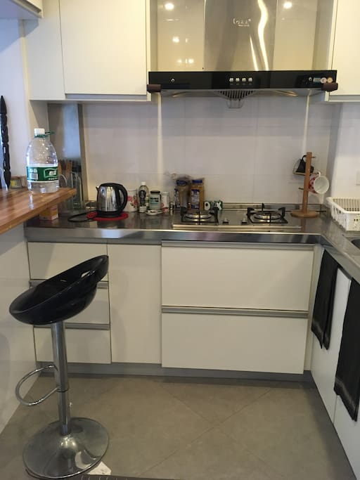 Washing machine, kettle, microwave - all appliances and kitchenware included