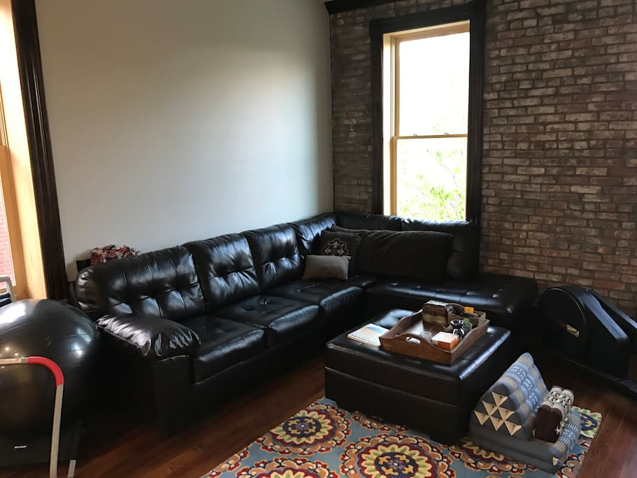 cozy leather couch