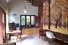 Our kitchen, fridge, stove, kitchenware
