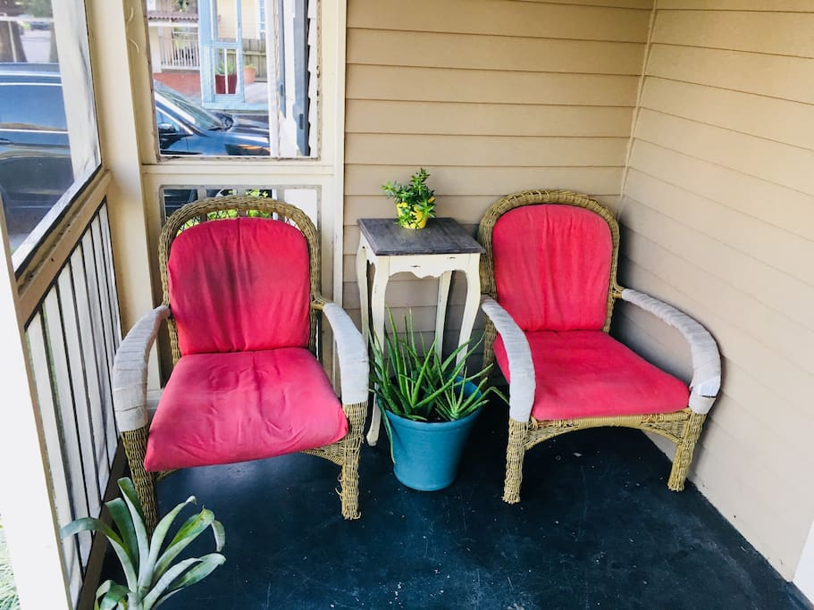 The front porch offers a shady spot to take sip some coffee and take in the neighborhood.