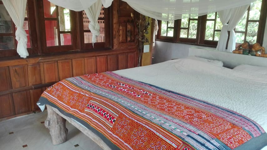 Master bedroom in our jungle house - Pak Song