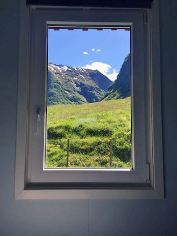 Undredal Valley outlook from window.