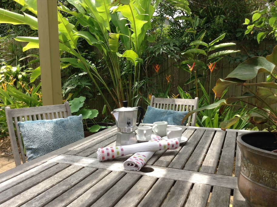 Enjoy breakfast or just relax in the tranquil tropical gardens