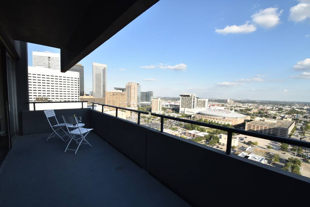 Huge Main Balcony with Views over Toyota Center and George R Brown Convetion Center