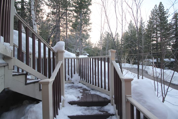 Front entry steps leading up from driveway.