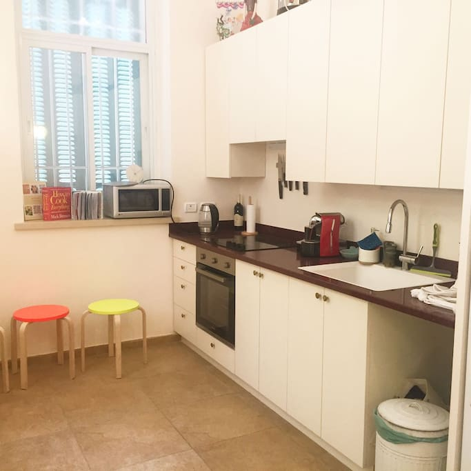 Fully equipped brand new kitchen. Includes two ovens, fridge, freezer, microwave, coffee machine, kettle, hot plate and urn.