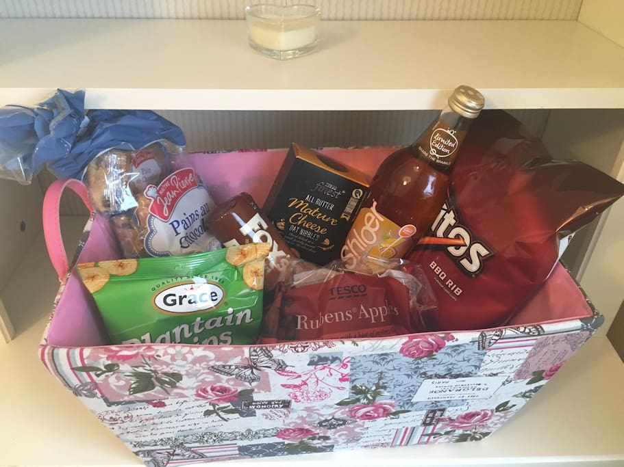 Longer bookings will arrive to a hamper of goodies. Perfect refreshment after a long journey.