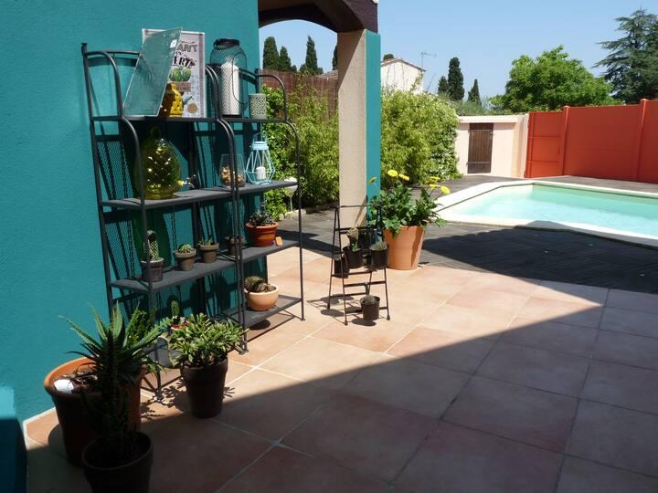 villa piscine/pkg privés 4/7 pers. Petite Camargue