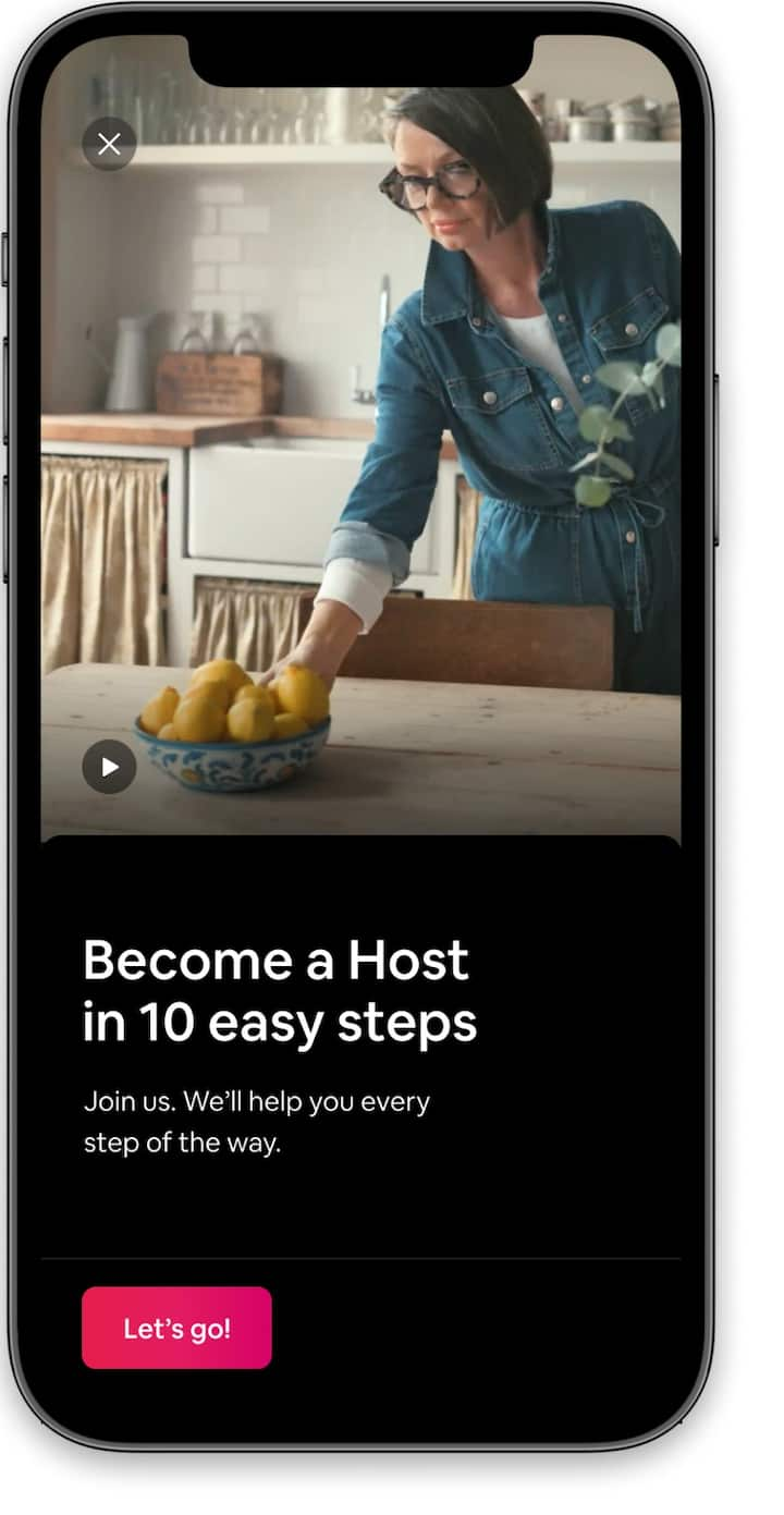 Introduction to hosting with a welcome video in the Airbnb app.