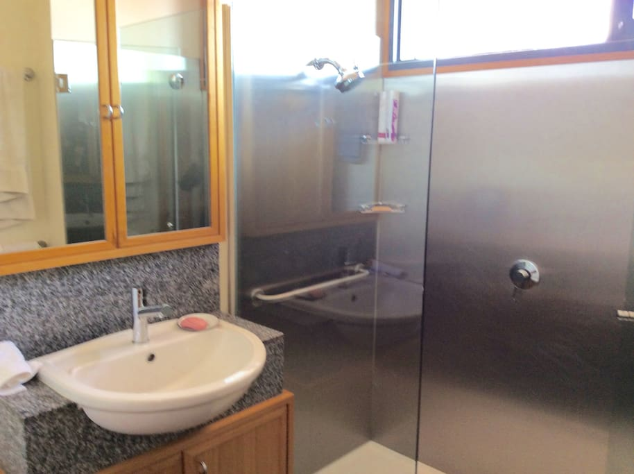 Lancefield polished granite, stainless steel and glass bathroom, filled w natural light.