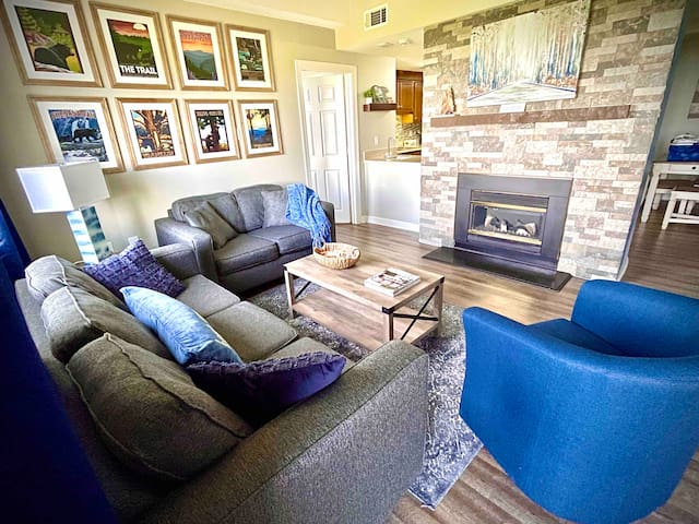 Our cozy living area is a great place to play games with the family or just have a drink and talk. The couch converts to a full sized bed.