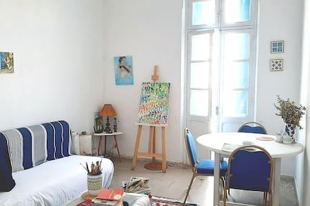 bright room in the city center