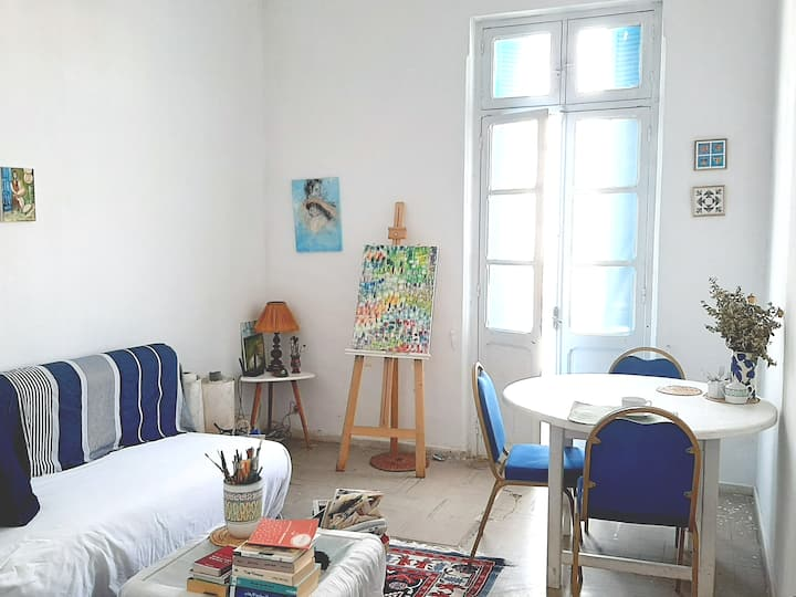 bright room in the city center