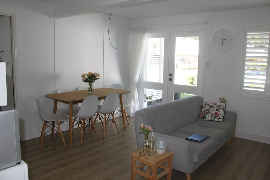 It's a real be achy, fresh feeling apartment. See 6 seater table and chairs.