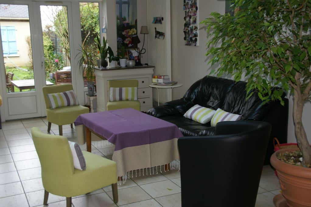 Salle 30 m2 incluant cuisine donnant sur jardin