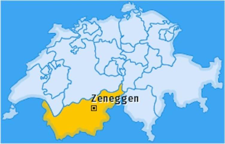 Distanz Visp-Zeneggen=20 Minuten mit dem Auto-Sie fahren 9 Kilometer.