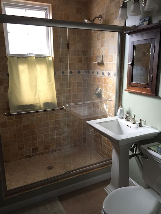 Bathroom not shown is bench seat and additional shower head