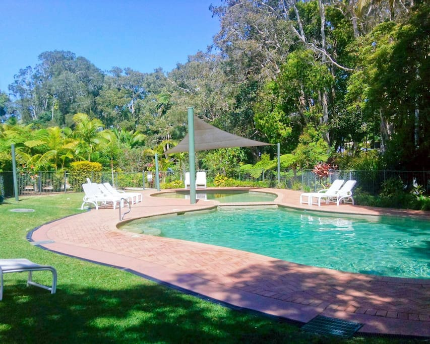 2 pools in the subtropical rainforest resort grounds, with a shallow end for the kids