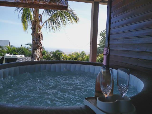 T2 avec  jacuzzi privé  piscine chauffée vue mer