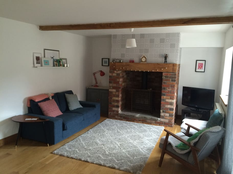 Living room with gas fire (with fire guard).