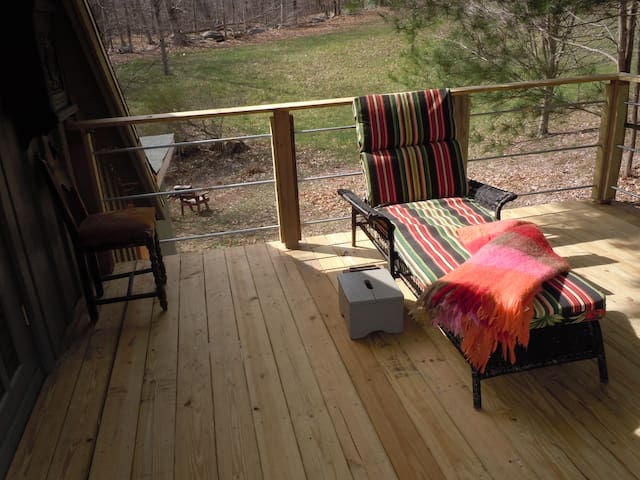 off one side of the deck the view is of a pasture ..very private!!!!