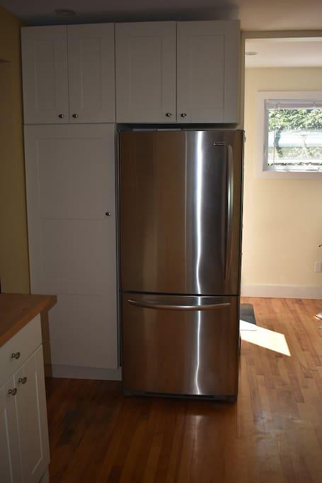 Refrigerator and kitchen storage.