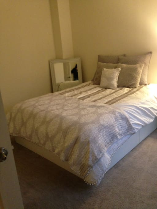 Large bedroom with storage bed as well as closet space.