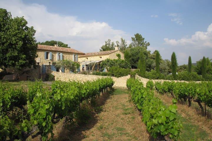 Hermosa casa de campo restaurada con piscina privada, patio y vistas del Mont Ventoux