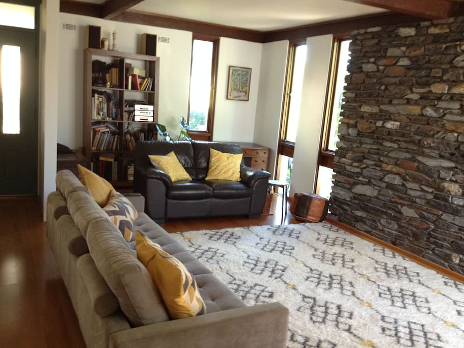 Lounge with  Mid Century Stone Wall