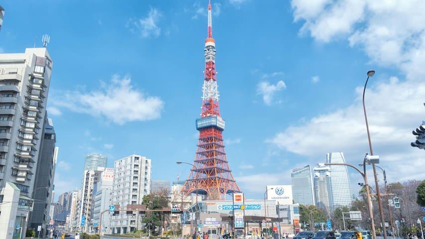 大床房/距东京铁塔200米/步行3分钟至赤羽桥站/近新宿、六本木/带浴缸/中英日文语言服务