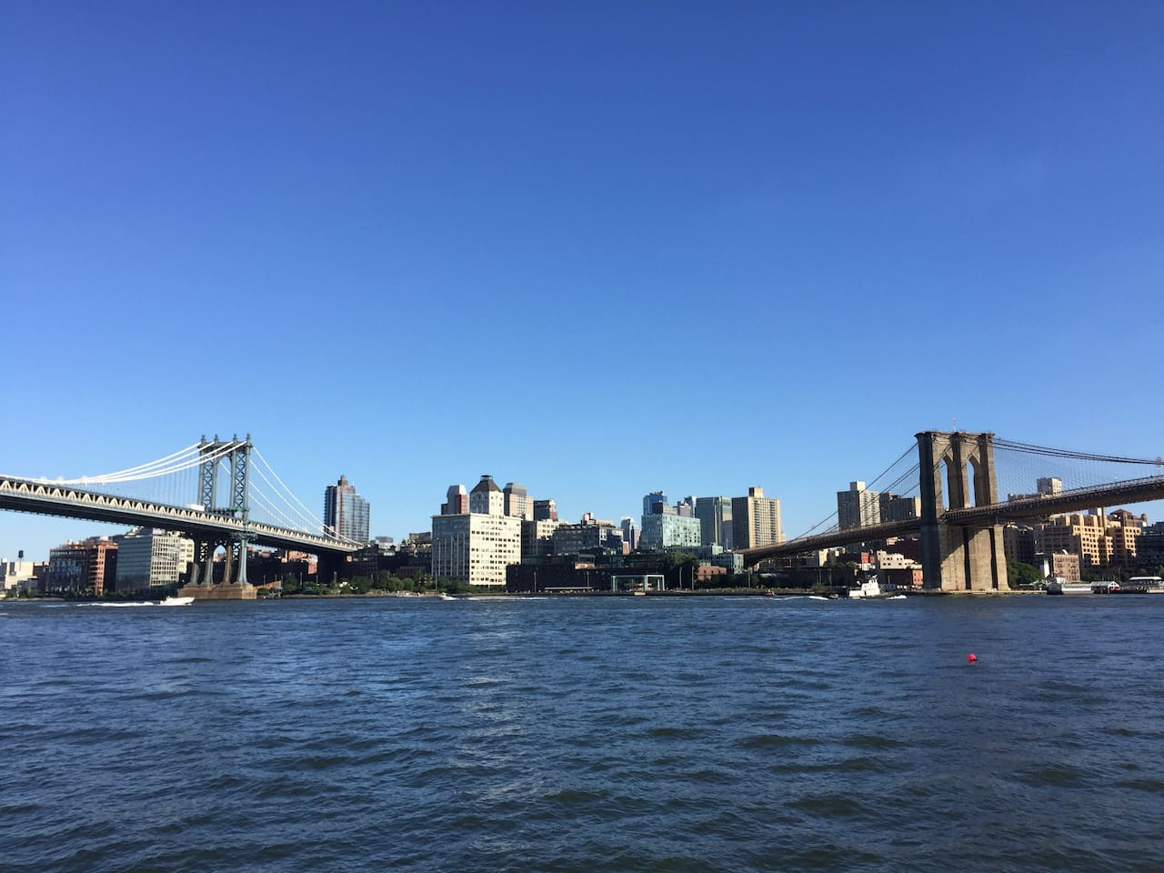 We are just steps away from East River, the gorgeous Brooklyn Bridge (right) and Manhattan Bridge (left).