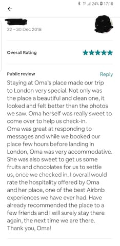 Review from previous guest