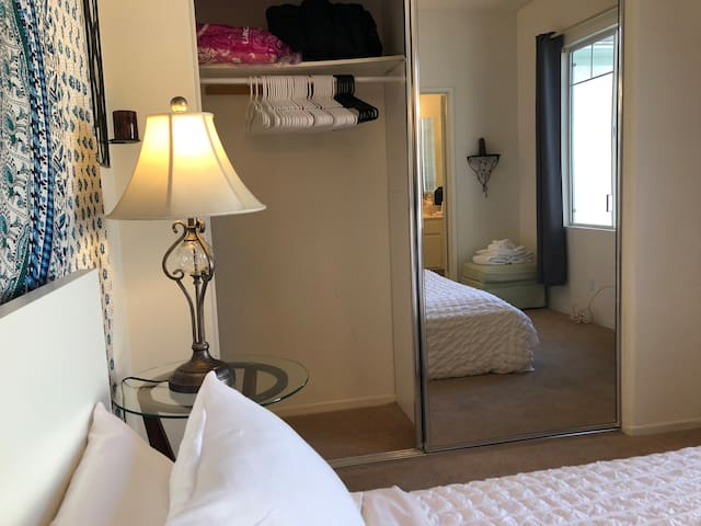 Hangers, extra pillows, and blankets are  provided in bedroom #2