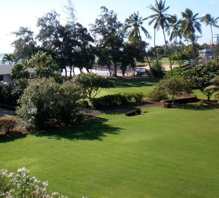 view from House towards Poipu Beach Park & Brennecke's Beach