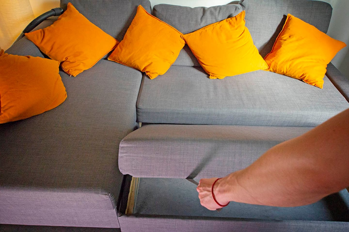 The bed sofa converts easily into a bed.