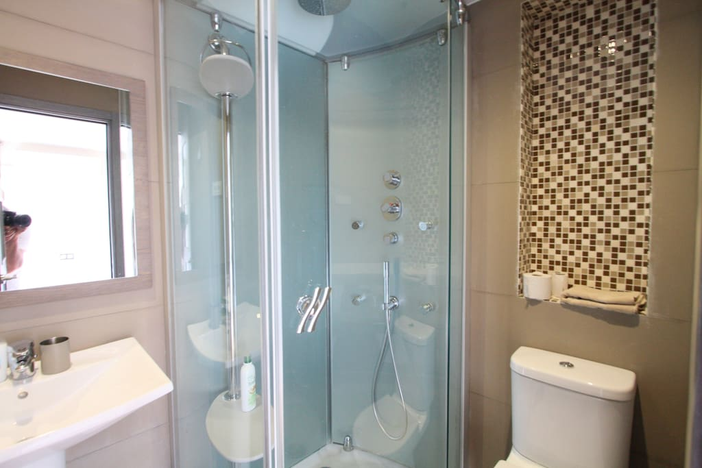the shower  from the bedroom