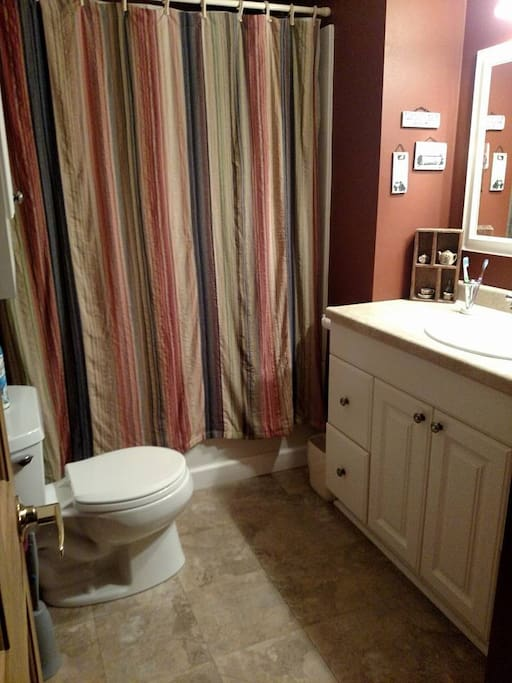 Shared bathroom, simple and clean.